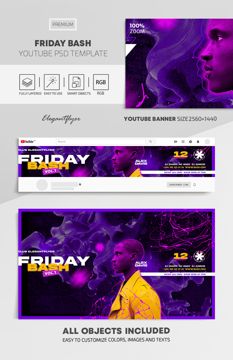 Friday Bash – Youtube Channel banner PSD Template