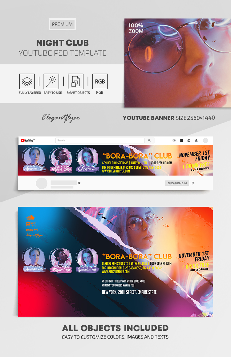 Night Party – Youtube Channel banner PSD Template