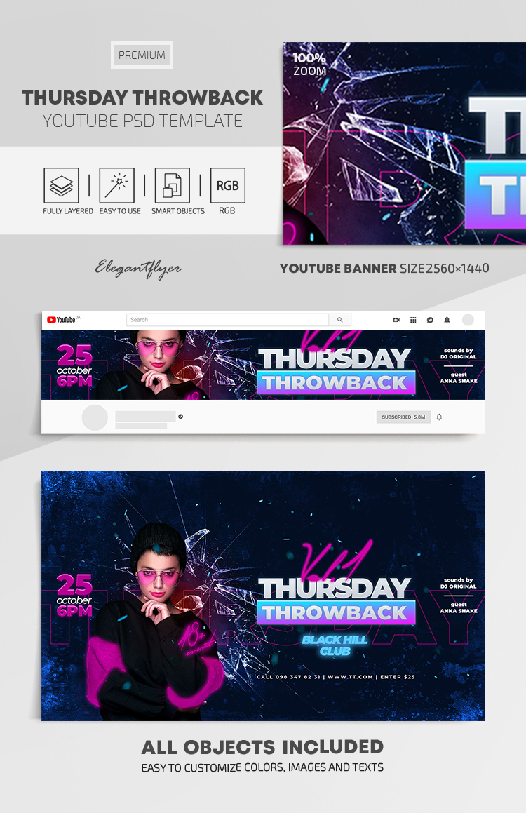 Thursday Throwback – Youtube Channel banner PSD Template