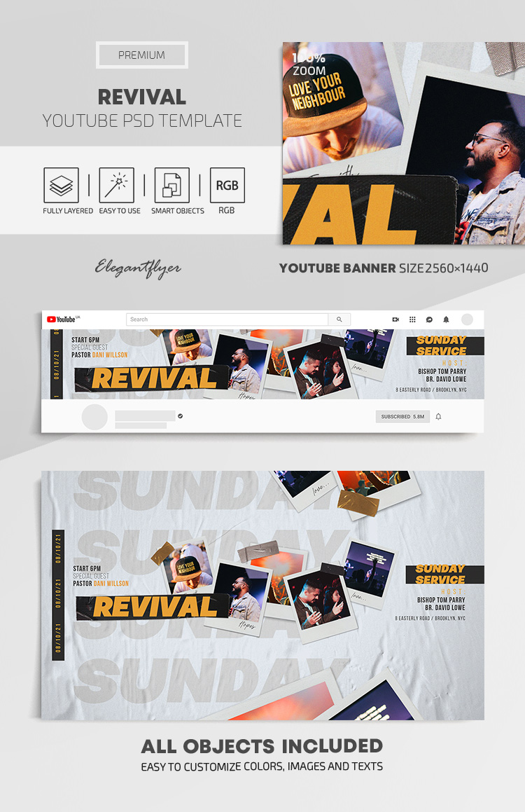 Revival – Youtube Channel banner PSD Template