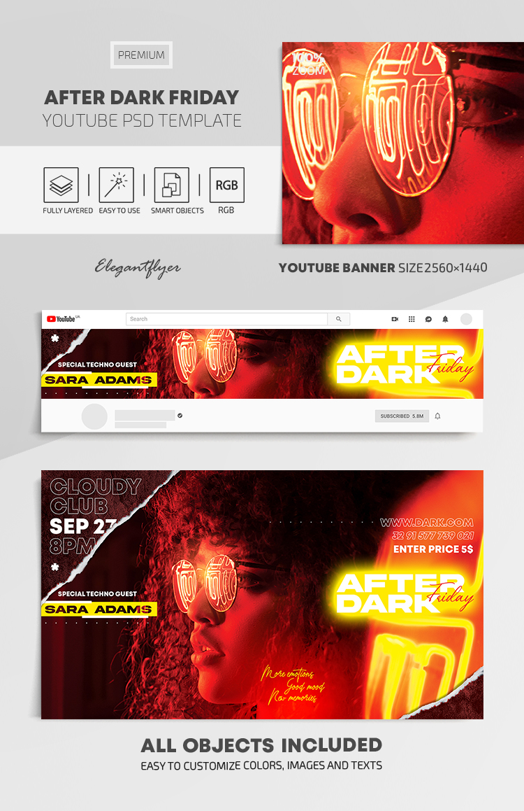 After Dark Friday Party – Youtube Channel banner PSD Template