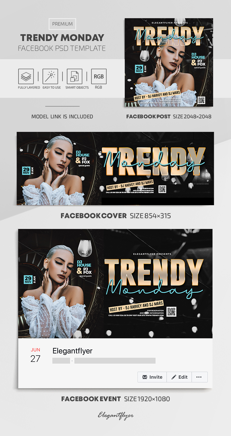 Trendy Monday – Facebook Cover Template in PSD + Post + Event cover