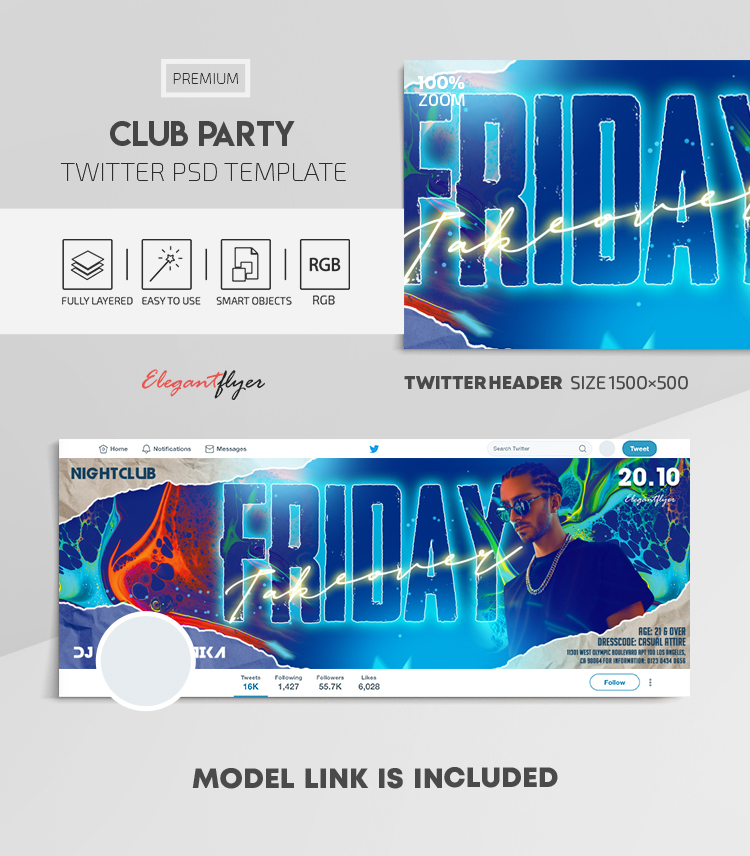 Club Party – Twitter Header PSD Template